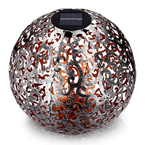 Navaris LED Solar Kugel aus Metall - 30 x 30cm - mit Erdspieß - Garten Solarkugel Leuchte - Orientalische Solar Kugelleuchte - Gebürstetes Silber