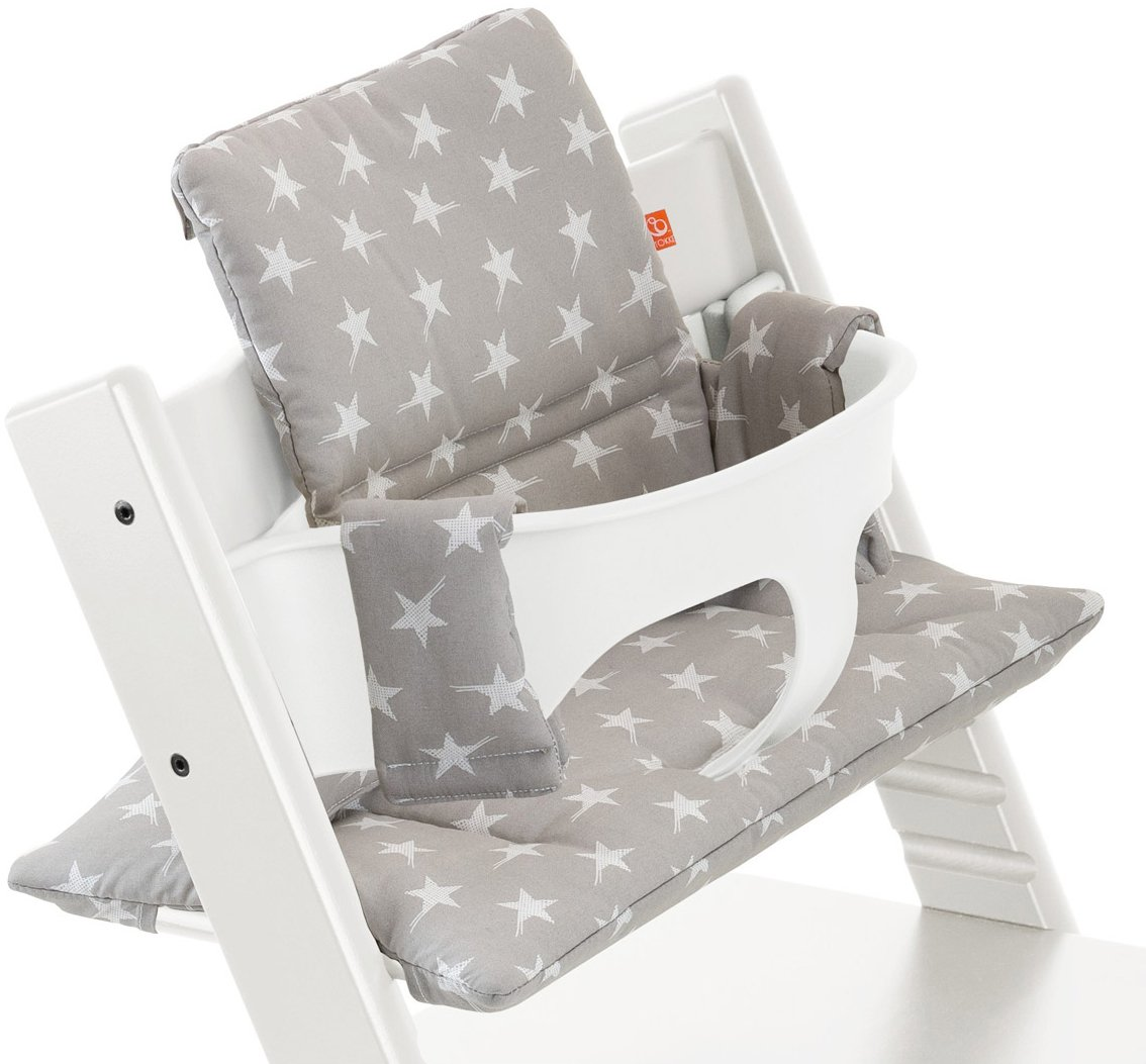 Ukje-Cover Tailor Made for Stokke Tripp Trapp Newborn Set High Chair-Cover Set 1 Piece Cover in Cotton Oeko-TEX/® Standard 100 Cordury Fabric Cover Easy to Clean with Wipes-Black Triangles