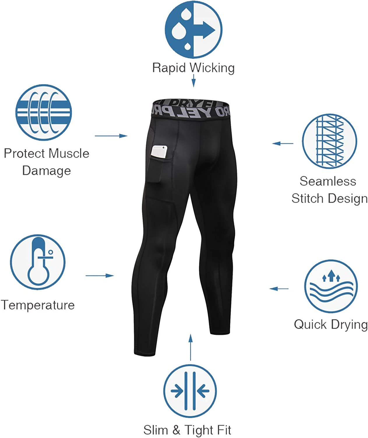 YUSHOW 2 Pack Mens Compression Leggings Cool Dry Sports Running Tights Base Layer Bottom Cycling Pants for Workout Athletic Training Gym