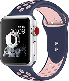 Promate Sport Apple Watch Band 38mm/40mm, Premium Silicone Loop Replacement Strap with Breathable Dual-Toned Design, Dual ...