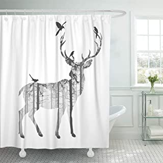 Emvency Shower Curtain Waterproof Adjustable Polyester Fabric Hunting Silhouette of Deer with Pine Forest and Birds Black and White Colors Stag 66 x 72 Inches Set with Hooks for Bathroom
