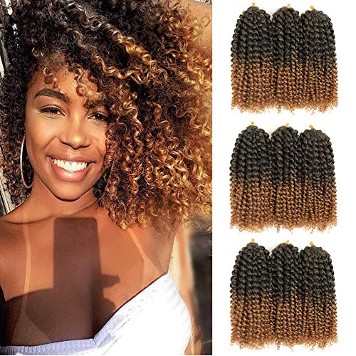 8 Inch Short Marlybob Crochet Hair 9 Bundles/Lot Curly Crochet Braids Ombre Braiding Hair Synthetic Hair Extension (T1B/27)