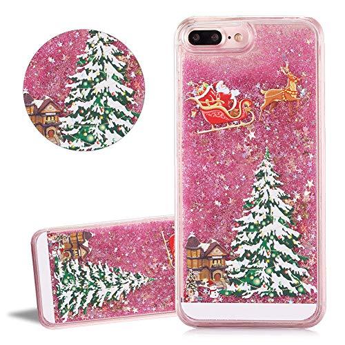 YiCTe Glitzer Treibsand Weihnachtsbaum durchsichtiger klar Harter PC Hülle für iPhone 6/6S, niedliche Weihnachtsmann fließend schwimmend Luxus-Bling-Abdeckung Handyhülle,Rosa