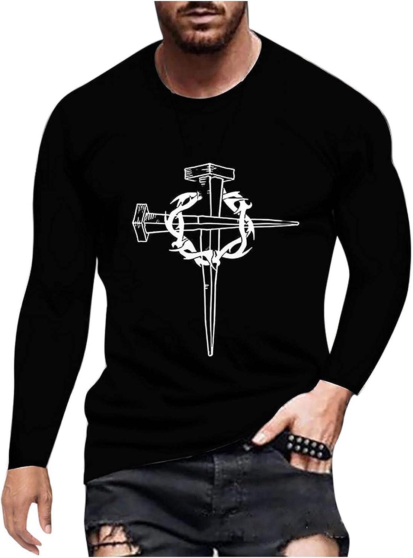 Mens Long Sleeve T-Shirts Vintage Cross Christian Faith Blouse Printed Crewneck Pullover Shirt Soft Comfy Cotton Tee