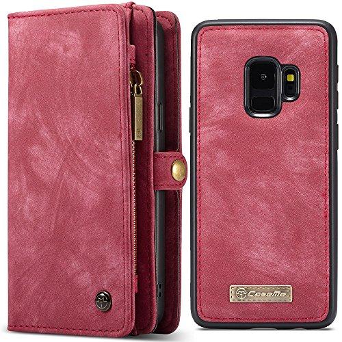 Harrms Cartera plegable de cuero con estuche rígido magnético desmontable para unisex-adulto Samsung S9 Plus / S9 + 6,2