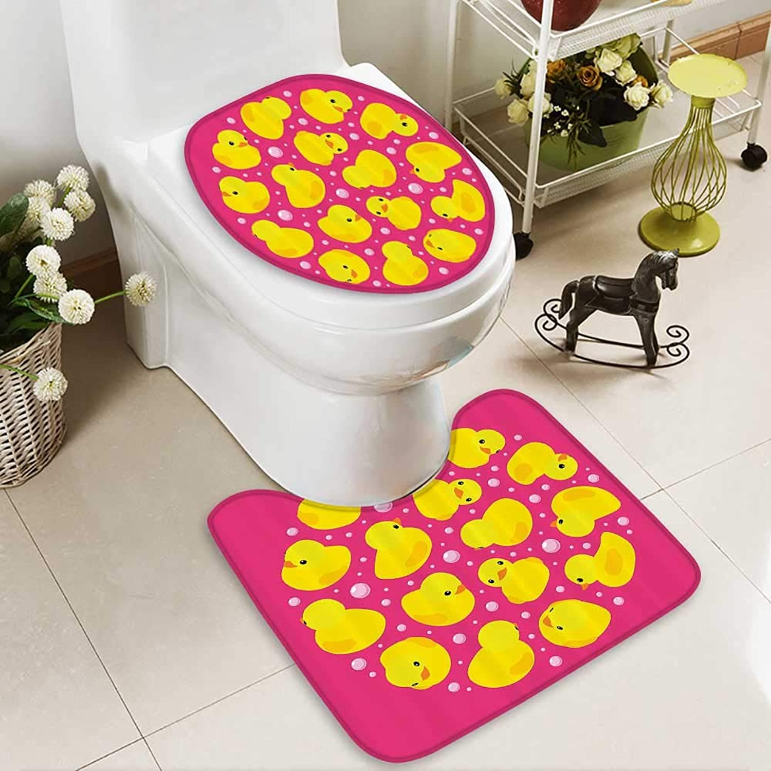 Muyindo U-Shaped Toilet Mat-Soft Fun Baby Duckies Circle ArtsyKids Toys Bubbles Hot Pink Animal 2 Piece Toilet Toilet mat