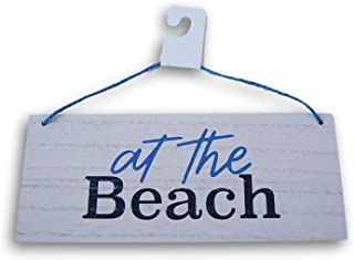 Horizon Group USA Miniature Beach House Hanging Sign ''at The Beach'' - 8 x 3.25 Inches