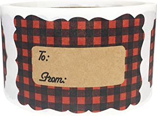 Red Buffalo Plaid Natural Kraft Christmas Gift Tags Holiday Present Stickers 2 x 3 Inch 100 Total Labels