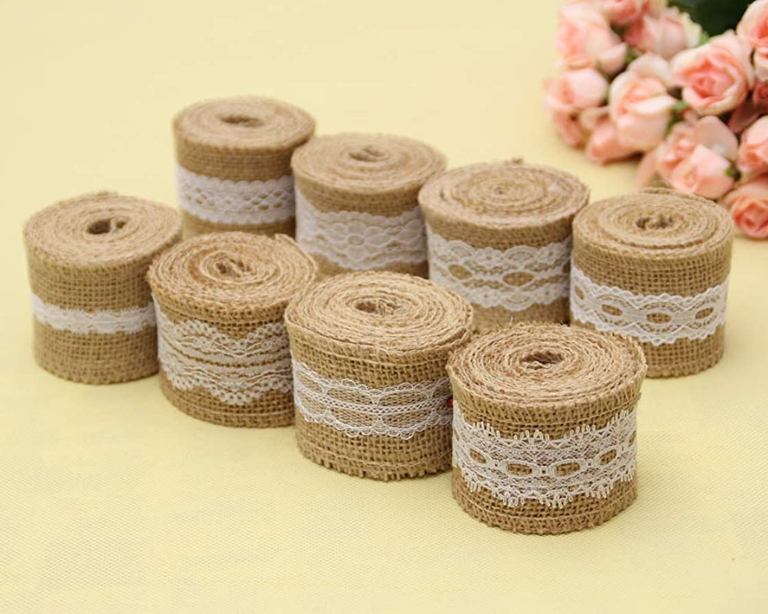 LNKA 8Pcs 6.5 Feet/2M Jute Burlap Rustic Ribbon Roll with White Lace for DIY Handmade Wedding Crafts Hessian Jute Strap 2inch Width