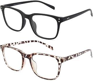 Livho 2 Pack Blue Light Blocking Computer Glasses for Women Men,TR90 Light Weight Frame Anti Eyestrain UV Lens LI5025 (Matte Black+Leopard)