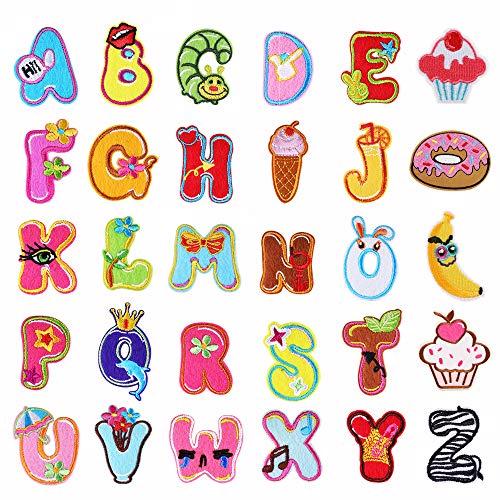 Toppe a forma di lettere dell'alfabeto, dalla A alla Z, con teneri animali, ideali da cucire o applicare a caldo, per vestiti e jeans, 26 pezzi