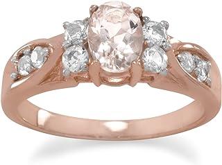 Chapado en oro de Rose SS anillo centro 5mm x 7mm Oval Morganite dos 2,5mm topacio blanco ambos lados–Tamaño J