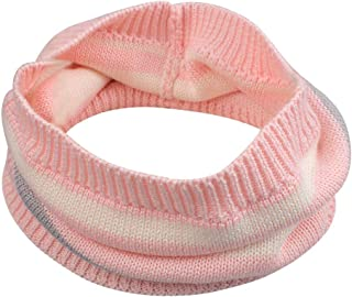 Duoyeree Toddler Girls Winter Scarf Cable Knit Kids Warm Scarves 0-5T, Stripe Pink