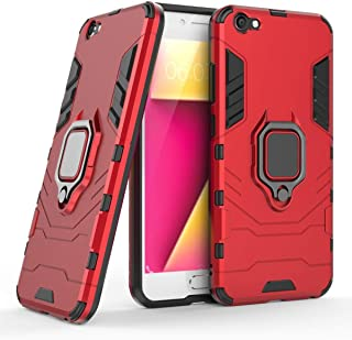 Compatible with VIVO Y67 Case, Metal Ring Grip Kickstand Shockproof Hard Bumper Shell (Works with Magnetic Car Mount) Dual Layer Rugged Cover for VIVO Y67 (Red)