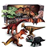 Dinosaur Model Toy Set of Realistic Jurassic World Dinosaur Toy Set with Tyrannosaurus, Euoplocephalus, Triceratops and Pterosauria Dinosaur Toy Kit Suitable for Children Aged 3-12