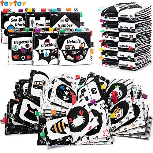 teytoy Baby-Bücher-Set aus weichem Stoff, schwarz und weiß, hohe Kontraste, für Babys von 0, 3, 6, 9, 12 Monaten, Neugeborene, Babys, Jungen und Mädchen, frühes Lernspielzeug