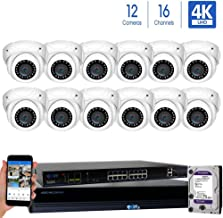 GW Security 16 Channel 4K NVR 8MP IP Camera Network PoE H.265 Surveillance System with 12-Piece Ultra HD 4K 2160P Weatherproof Outdoor/Indoor Dome Security Cameras - White