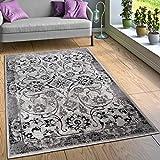Paco Home Designer Teppich Wohnzimmer Teppiche Florale Vintage Optik Bordüre Schwarz Weiß, Grösse:160x220 cm