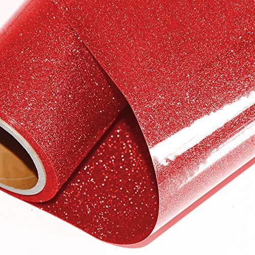 ARHIKY Glitter Heat Transfer Vinyl HTV for T-Shirts 10Inches by 5 Feet Rolls(Red)