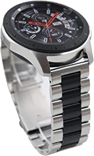 @ccessory 22mm Stainless Steel Watch Band Quick Release Strap for Samsung Galaxy Watch 46mm Gear S3 Frontier(Silver + Black)