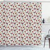 ABAKUHAUS Aloha Duschvorhang, Moderne Triangel & Blumen, Bakterie Schimmel Resistent inkl. 12 Haken Waschbar Stilvoller Digitaldruck, 175x200 cm, Weiß & Multicolor