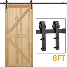 Yaheetech 8 Ft Sliding Barn Door Hardware Heavy Duty Sliding Door Hardware Set Sliding Closet Door Hardware and Track System Black