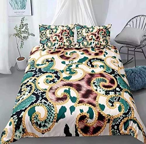GYF Inicio Textiles 3D Leopard Impresión Casa Casa Ropa de Cama Lujo Nuevo edredón Cubierta Conjunto Doble tamaño Individual en Alza Color : Style4, Size : DE-XL(220x230cm)