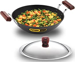 Futura Nonstick Induction Compatible Deep-Fry Pan with Stainless Steel Lid, 2.5 Litre, Diameter 26 cm, 3.25 mm Thick, Blac...