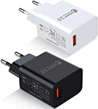 European Travel Plug Adapter, Besgoods 2-Pack Europe Power Adapter Fast Charger Block Compatible with Samsung Galaxy S8 S9/ Note 8, iPhone, iPad, LG G6/V30, HTC 10 and More – Black White