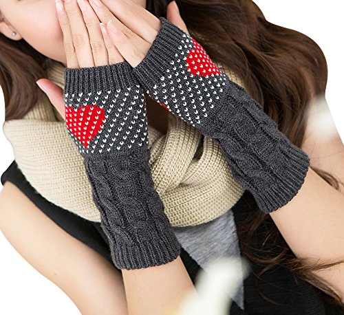 TagoWell Winter Women Girl Cable Knit Fingerless Gloves Cute Arm Warmers Mittens, Dark Gray One Size