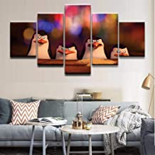 Yyoutop 5 Piezas Cartoon Movie Penguins of Madagascar Poster Home Decor Wall Canvas Photo Art HD Print Painting On Canvas Artworks-Frame