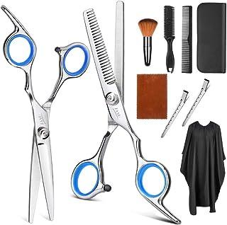 Juego de tijeras para cortar el cabello de Tijeras de peluquería profesional, tijeras rectas, tijeras para adelgazar, peine, pinzas, capa de peluquería, cepillo para el cuello