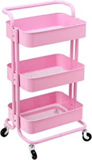 HollyHOME 3 Tier Rolling Cart Metal Utility Cart with Handles, Art Cart Bathroom Storage Cart Kitchen Organization, Anti-Rust Service Rack Rolling Shelf, Pink