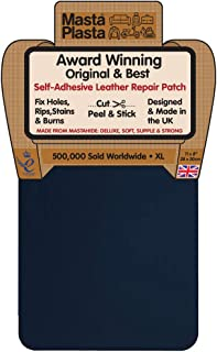 MastaPlasta Self-Adhesive Patch for Leather and Vinyl Repair, XL Plain, Navy - 8 x 11 Inch