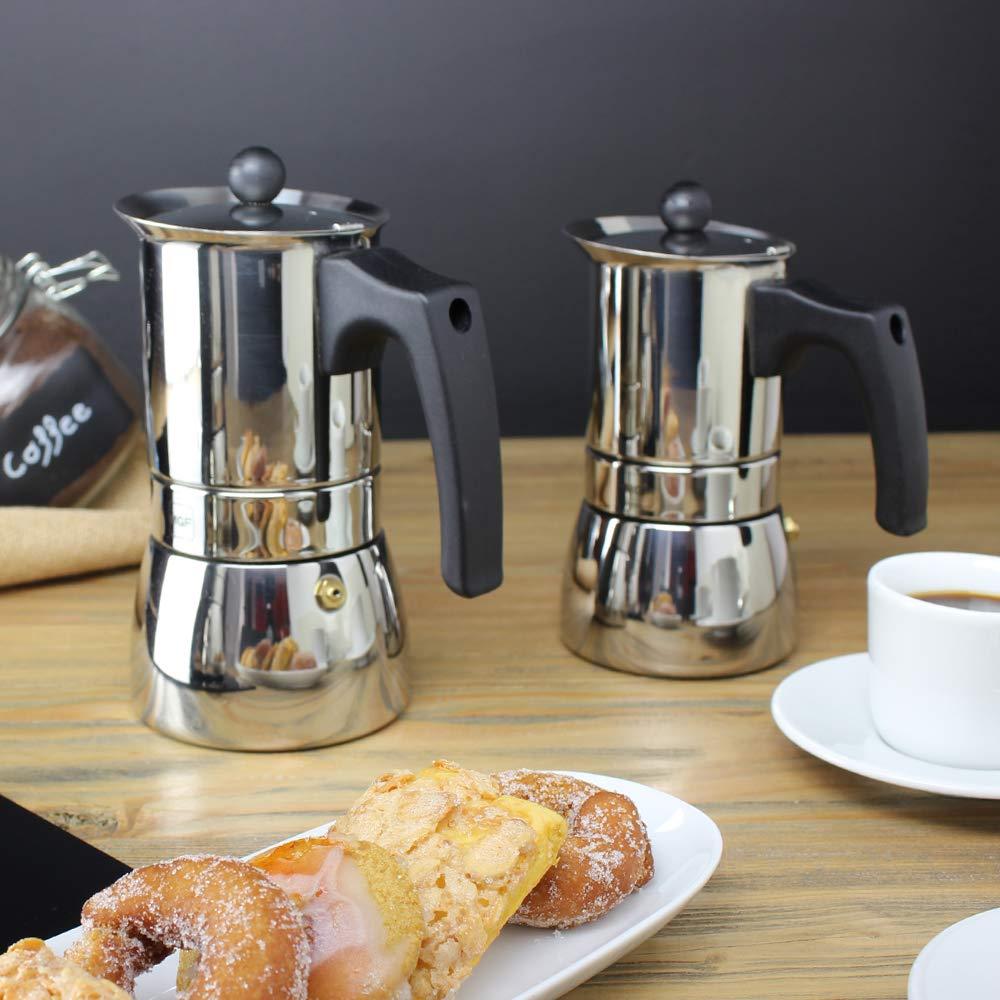 MAGEFESA Genova – La cafetera MAGEFESA Genova está Fabricada en Acero Inoxidable 18/10, Compatible con Todo Tipo de Cocina. Fácil Limpieza (Cromado, 6 Tazas): Amazon.es: Hogar