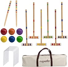 ROPODA Six-Player Croquet Set with Wooden Mallets, Colored Balls, Sturdy Carrying Bag for..