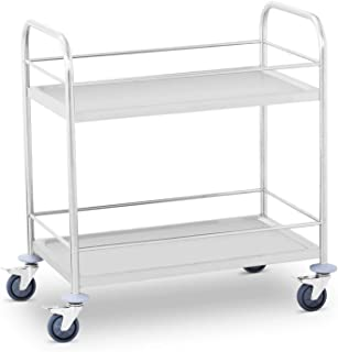 Stainless Steel Royal Catering RCFT-1.1/Platform Truck Folding Trolley Cart 400 kg, Storage Surface 82 x 52 cm, Rubber Wheels