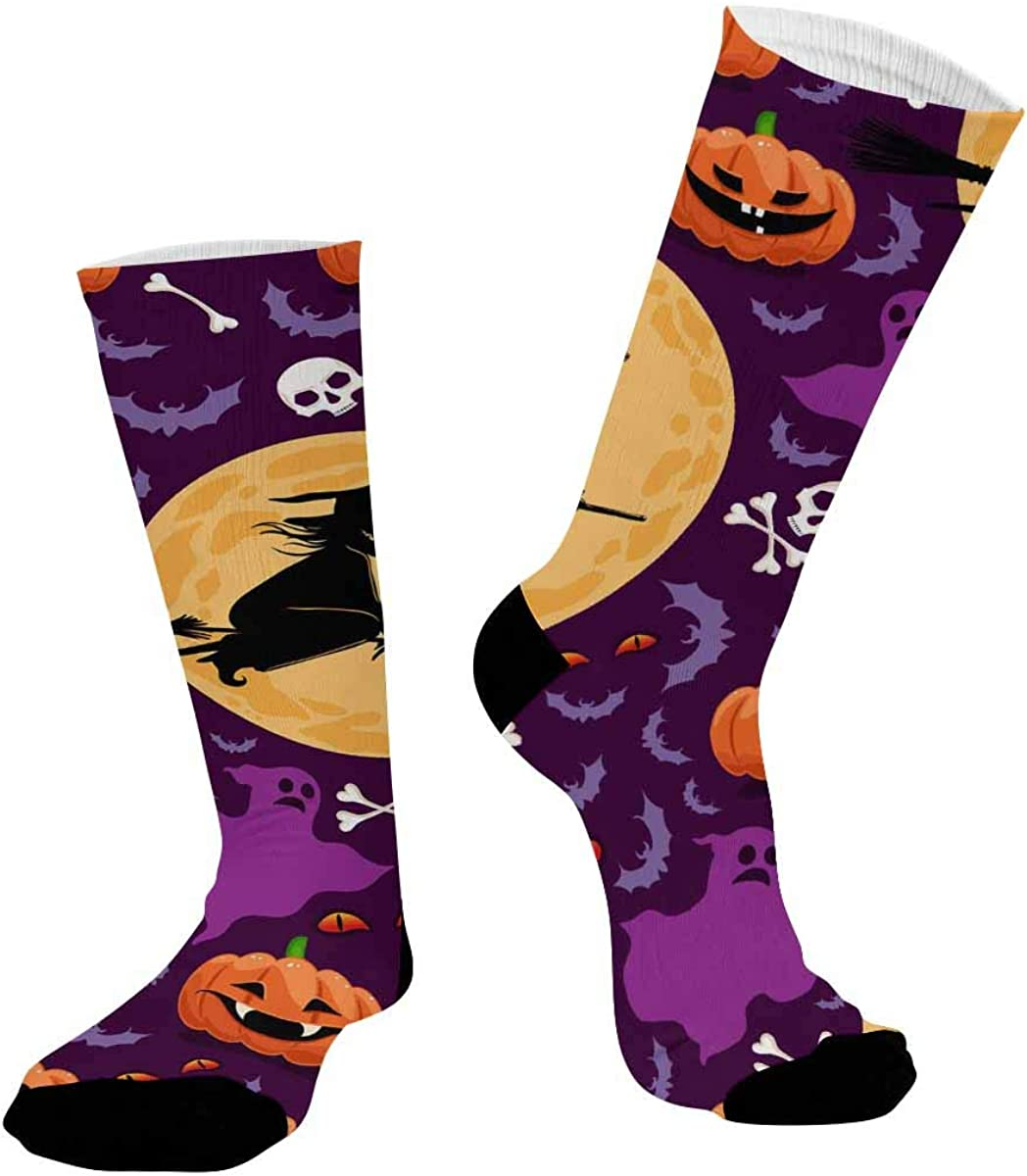 INTERESTPRINT Breathable Sublimated Crew Socks Outdoor Athletic Socks Halloween with Pumpkins