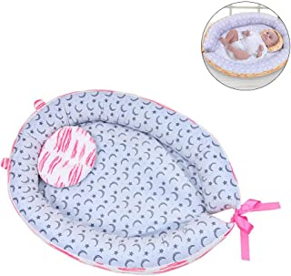 Hamkaw Baby Bassinet for Bed Portable Soft Baby Lounger with Pillow Breathable Hypoallergenic Co-Sleeping Crib for Bedroom Travel Perfect for Baby Boy and Girl Pink