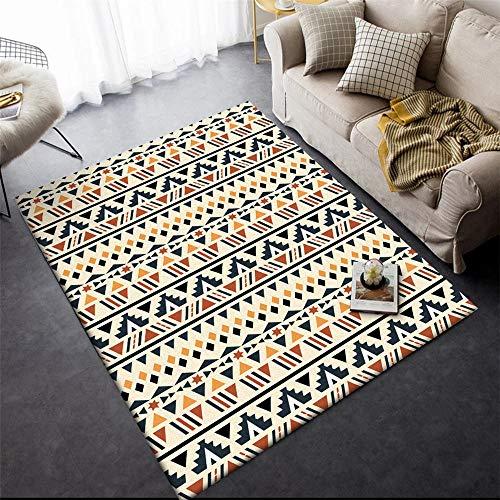 La alfombras Resistente a la decoloración La Alfombra Alfombra de Sala de Estar de diseño étnico geométrico Crema Amarillo Negro SaladeEstar Alfombras 140*200cm