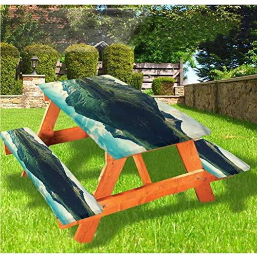 LEWIS FRANKLIN - Cortina de ducha con paisaje de lujo, cubierta de mesa de picnic, montañas con borde elástico de lago silencioso, 70 x 72 pulgadas, juego de 3 piezas para mesa plegable