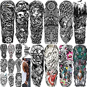 20 Sheets Extra Large Waterproof Temporary Tattoos 10 Sheets Full Arm Fake Tattoos for Men Tribal Lion Eagle Wolf Skull Dragon 10 Sheets Half Arm Neck Arm Thigh 3D Tattoo Stickers for Men or Women