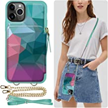 iPhone 11 Pro Wallet Case, ZVE iPhone 11 Pro Credit Card Holder Case with Crossbody Chain Handbag Purse Wrist Strap Zipper Leather Case Protective Cover for Apple iPhone 11 Pro 5.8 inch - Diamond