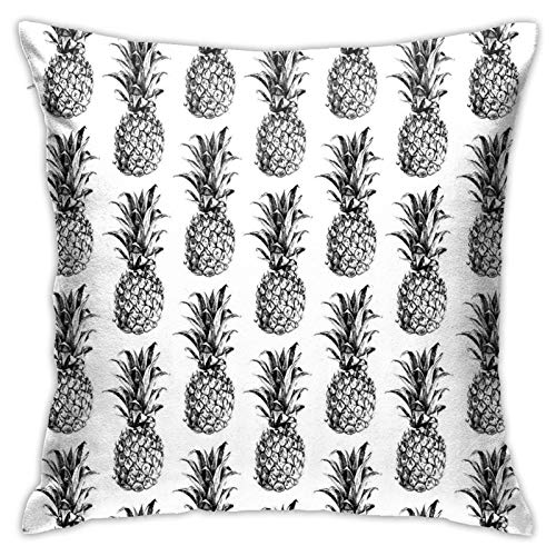 Throw Pillow Case Cushion Cover,Artistic Hand Drawn Tropical Theme In Vintage Style PineFruit Pattern Picture ,18x18 Inches