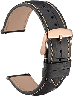 WOCCI 18mm Alligator Embossed Leather Watch Band with Rose Gold Buckle, Quick Release Strap (Black with Contrasting Seam)