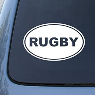 CMI575 Rugby Decal | Rugby Euro Oval | Die Cut Vinyl Car Decal Sticker for Car Window Bumper Truck Laptop Ipad Notebook Computer Skateboard Motorcycle | Premium White Vinyl Decal | 6.2