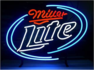 LDGJ Miller Lite Neon Light Sign Home Beer Bar Pub Recreation Room Game Lights Windows Glass Wall Signs Party Birthday Bedroom Bedside Table Decoration Gifts (Not LED)