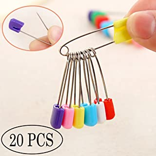 COFFLED Cloth Diaper Pins Stainless Steel Safety Pin and Fastenersfor Toddler Colorful Laundry Nappy Hold Clip Locking Cloth