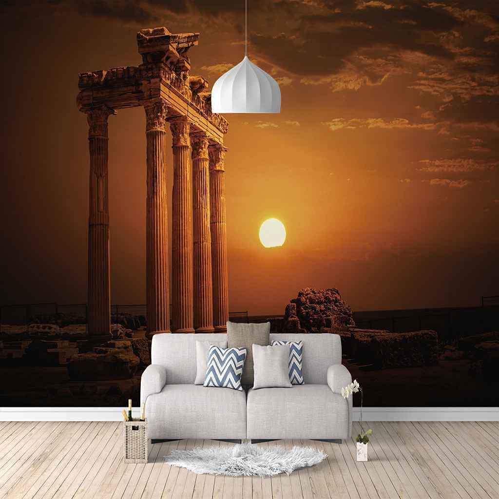 New Shipping Free Shipping HWCUHL 3D Wall Stickers Mural Landscape Architecture High quality Sunset