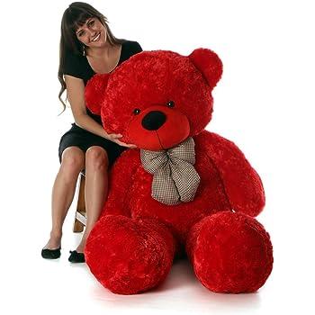 ATIF Soft Toys Long Soft Lovable hugable Cute Giant Life Size Teddy Bear 3 Feet 90 cm RED for Wife/BOY Girl